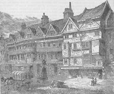 HOLBORN. Old Houses in Holborn near middle Row. London c1880 antique print