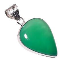 PLATA DE LEY Capa hecho a mano verde Calcedonia Colgante nlg-757 CADENA 18-inch