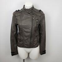 BKE womens sz Med faux leather moto jacket coat brown metallic asymmetric biker