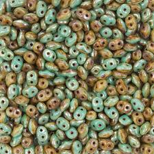 SUPERDUO ™ dúos ™ 5 mm del grano verde turquesa Marfil Picasso 13g (M17/2)