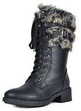 Women's Boots DREAM PAIRS Foxy Black Faux Fur Mid Calf Riding Combat, 9.5 M US