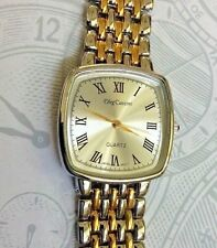 Oleg Cassini Two Tone Women's Watch Square Silver Dial Roman Numeral Hours NEW!