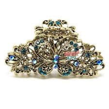 Metal Hair Claw Clip Beautiful Butterfly Flower Blue crystal bridal hair claws
