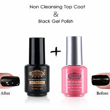 2pcs Nail Art Soak Off Non Cleansing Top Coat UV Gel  Black Gel Nail Polish Set