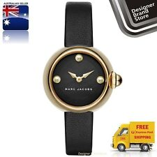 New Marc By Marc Jacobs Ladies Watch Courtney Gold SS Black Leather Strap MJ1432