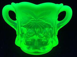 Vaseline opalescent Uranium glass coffee sugar dish / bowl cherry pattern yellow