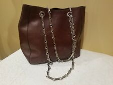 Mark Cross Bag Brown Leather Silver Chain Link Strap