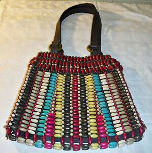 COOL 60S TYPE MULTI COLOURED WOODEN BEADS BAG 2 LEATHER HANDLES WITH GOGO RINGS