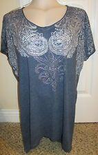 Women's Plus Size 0 Maurices Shirt Blouse Top  Blue w/ Silver Stud Accents