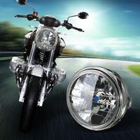 7'' Universale Moto H4 Fanale Faro Anteriore Headlight Nero Tondo Testa Lampada
