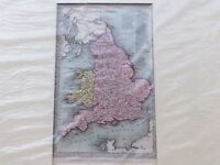 ENGLAND AND WALES - ANTIQUE MID 19th CENTURY MAP BY T STARLING IN COLOUR