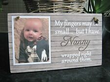 Handmade Personalised Photo Plaque Nanny Grandad Baby Photo Gift small fingers