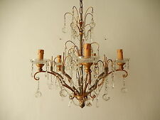 c 1920 French Micro Beaded Murano Drops Crystal Prism Polychrome Chandelier~