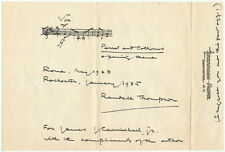 1935 Composer Randall Thompson Signed Musical Quotation