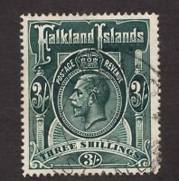 Sc36  / SG66 - Falkland Islands - 3 Sh - KGV - 1912 - Used - superfleas - cv$95
