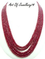 Precious 100% Natural Ruby Faceted Gemstone 5 Strand Beads Necklace 18 inches