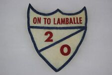 US WW2 Army Unknown Patch. On To Lamballe 20 2/0. Shield. White Felt. Help OA238