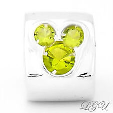AUTHENTIC CHAMIL MICKEY MOUSE HEAD WITH LIGHT GREEN CUBIC ZIRCONIA EUROPEAN BEAD