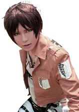 Attack on Titan Eren Jaeger Cosplay Wig synthetic Brown Short Straight Full Wigs