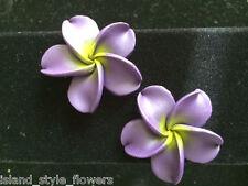"Hawaiian Plumeria Flower Fimo Fashion Jewelry Stud Post Earring PURPLE 1.5"" 38mm"