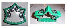 Tamburello a stella verde, cembalo, 4 paia di piattini in metallo, cm 12x12