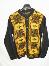Janus Norway M Brown Wool Cardigan Sweater Nordic Heart Knit Button Front Woman