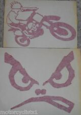 NOS CALVIN RIDING SKULL BIKE, RED NO FEAR FACE STICKERS SET OF TWO CMXNF
