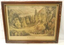 Currier & Ives Print A CLEARING  On The American Frontier Mat Nassau St NY