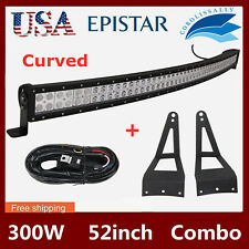 """52"""" 300W Curved LED Light Bar Combo+Wiring+99-15 Ford F250 F350 Mounting Bracket"""