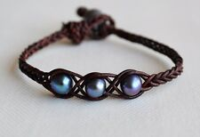 Unisex Peacock Pearls On Leather Cuff Bracelet Braided Artisan Jewelry Yevga