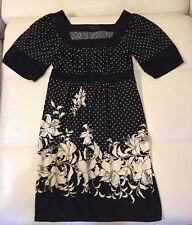 BCBG black and white empire waist floral Dress, XS