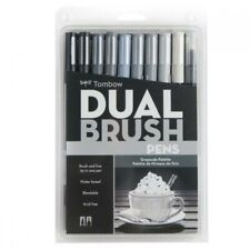 Tombow Dual Brush Pen Art Markers - Grayscale Palette 10-Pack
