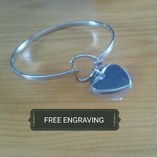 FREE ENGRAVING (PERSONALIZED) Stainless Steel Heart Bangle Bracelet