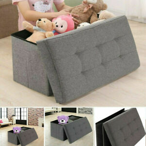 2 Seater Leather Storage Ottoman Foldable Seat Stool Bench Chest Toy Box 2 Size