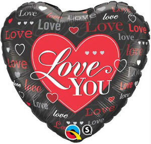 """I LOVE YOU BALLOON 18"""" RED AND BLACK HEARTS I LOVE YOU QUALATEX FOIL BALLOON"""