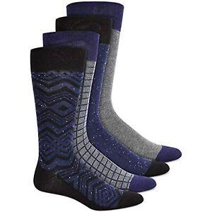MSRP $26 Alfani Mens Men's Dress Socks Gray 4 Pack Printed Black Size One Size