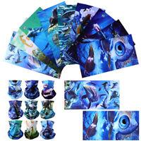 9pcs Headwear Shark Fish Face Motorcycle Sport Seamless Neck Tube Bandana Mask
