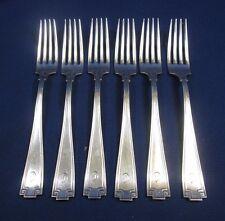 """6 Vintage Gorham Etruscan 7 5/8"""" Dinner Forks Solid Sterling """"C"""" Monogram"""