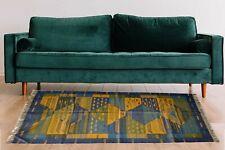 Home Decor Kilim Area Floor Rug Jute Wool Hand Knotted Geometric 4x6 Ft