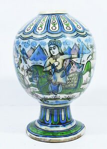 20th ANTIQUE QAJAR PERSIAN SHAH KING HUQQA BASE PORCELAIN POTTERY