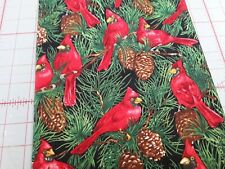 Cardinals & Pinecones Black Background 100% cotton by Blank Quilting