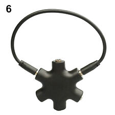 Black Artistic 3.5mm Jack 5 Way Port Aux Headphone Splitter Adaptor Converter