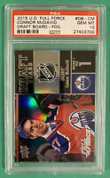 CONNOR MCDAVID PSA 10 2015 UD FULL FORCE DRAFT BOARD FOIL ROOKIE ... POP 5 !!!