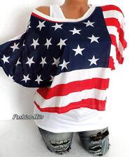 2 Tlg. SHIRT + LONGTOP OVERSIZE T-Shirt USA Amerika STERN Star Streifen 34 36 38