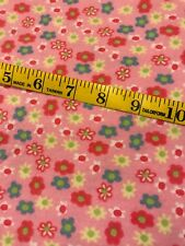 Vintage Pink Floral Flannel Fabric 16x42 Wide Quilting Sewing Crafts