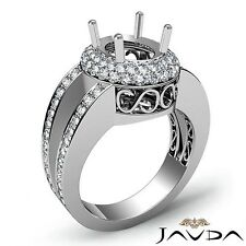 2 Row Halo Pave 1.35Ct Diamond Engagement Ring 14k White Gold Oval Semi Mount