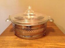 Early Pyrex glass etched Lid Casserole In Serving Mounter Holder