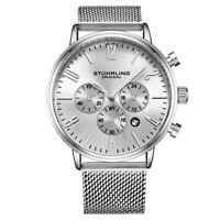 Stuhrling 3932 2 Monaco Date Chronograph Mesh Bracelet Mens Watch