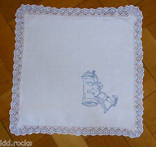 Leinen Läufer Deckchen blau bestickt Klöppelspitze sehr alte Handarbeit