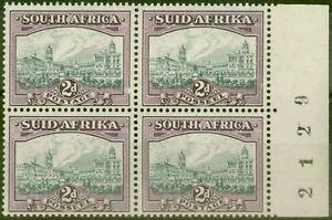 South Africa 1941 2d Grey & Dull Purple SG58a Fine MNH & VLMM Block of 4